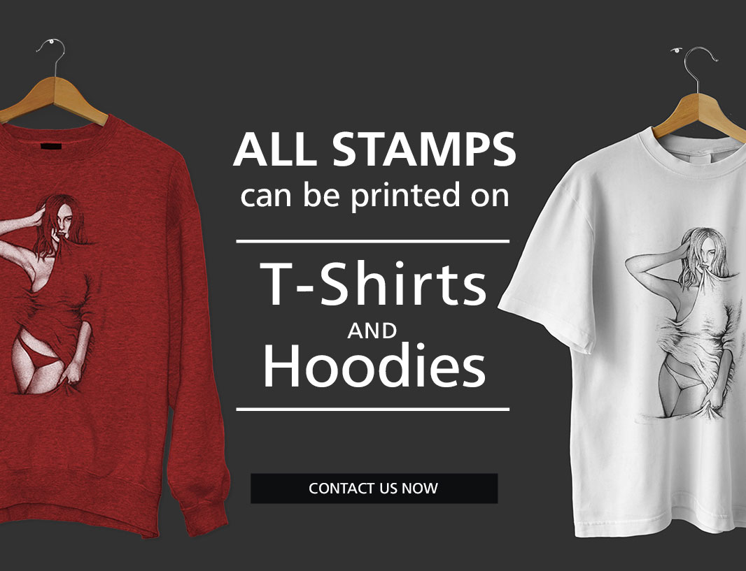 Stamps on tshirts and hoodies