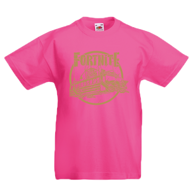 Fortnite Battle Bus Gold Kids T-Shirt with print