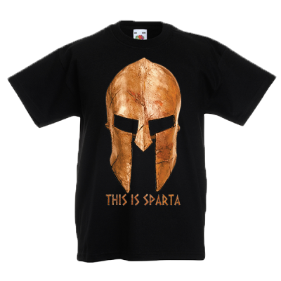Gold Helmet This Is Sparta Kids T-Shirt with print