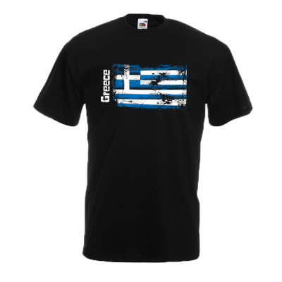 Greek Flag Ripped T-Shirt with print