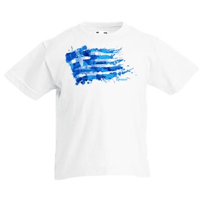 Greek Flag Splash Kids T-Shirt with print