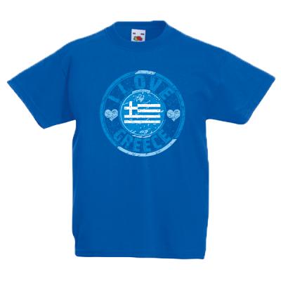 I Love Greece Flag Kids T-Shirt with print