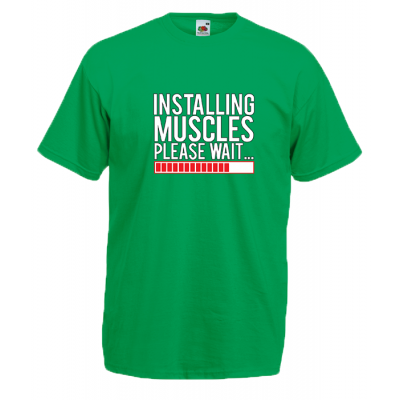 Installing Muscles T-Shirt with print