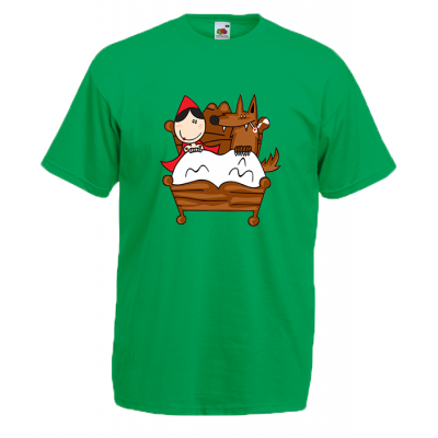 Little Red Riding Hood Bed T-Shirt with print
