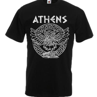 Owl Athens Circle Greek Key T-Shirt with print