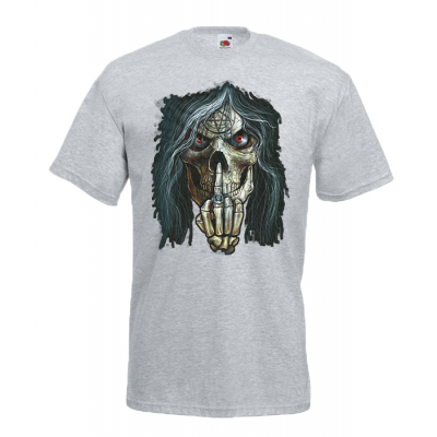Skull Middle Finger T-Shirt with print
